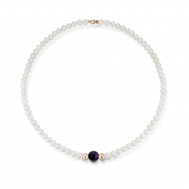 "COSСIA PEARL NECKLACE ""LELUNE"" WITH GOLD ELEMENTS AND AMETIST"