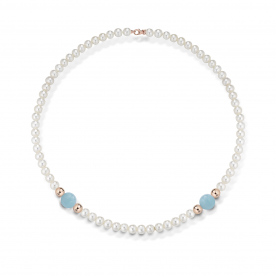 "COSCIA PEARL NECKLACE ""LELUNE"" WITH GOLD ELEMENTS AND AQUAMARINES"